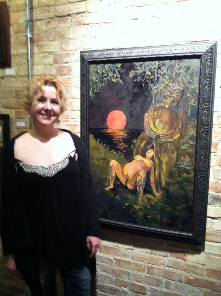 Kate with her painting at The Ice Cream Gallery, GR MI