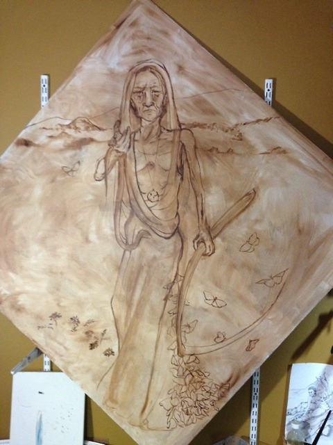 Layout of Santa Muerte with Monarch Butterfly cluster dress.