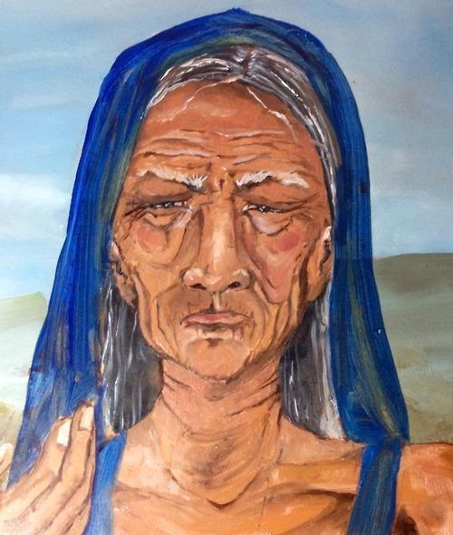 Detail of my Santa Muerte as I'm working on her.